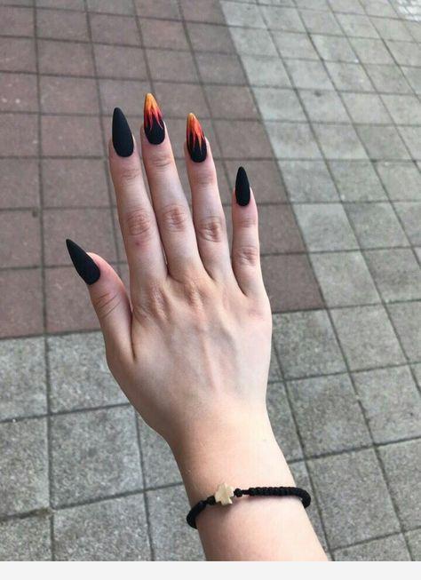 Black nails, orange flames