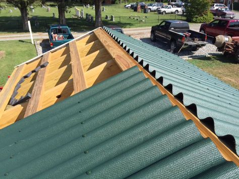 Green Ondura Roof Over Purlins On Playground For Kids Playground Corrugated Roofing Lobby Design