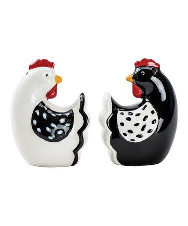 Farmhouse White Ceramic Bird Salt /& Pepper Shaker Set