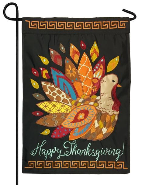 Patterned Thanksgiving Turkey Double Applique Garden Flag Thanksgiving Turkey Happy Thanksgiving Quotes House Flags