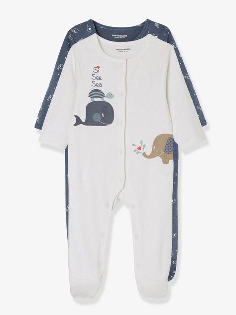 ea84aae266cdb Lot de 2 pyjamas bébé en coton imprimé pressionnés devant bleu jean - Une  baleine