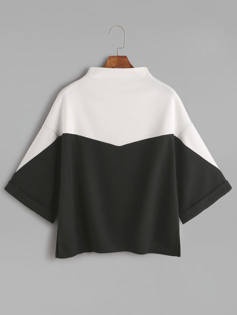 21689ae9 Shein Color Block Mock Neck Slit Side Cuffed T-shirt   Products ...