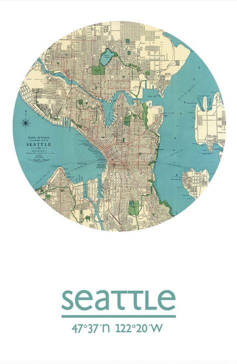 Karte Map Seattle Washington Vereinigte Staaten Von Amerika