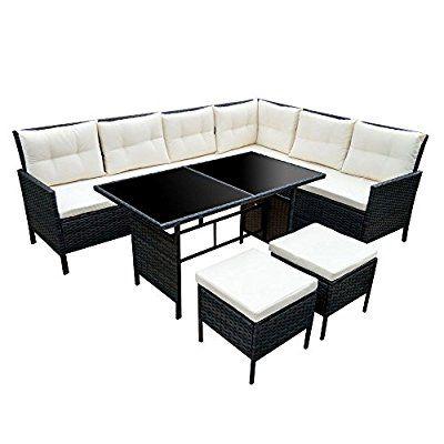 Amazon De Poly Rattan Set Gartenmobel Rattan Lounge Gartenset Sofa Garnitur Couch Eck Xxl Braun Gartenset Gartenmobel Mobel