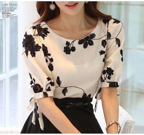 Summer Ladies Vestidos Retro Flower Print Chiffon Shirt chiffon floral blouse Women short Sleeve Casual Brand Tops S0385