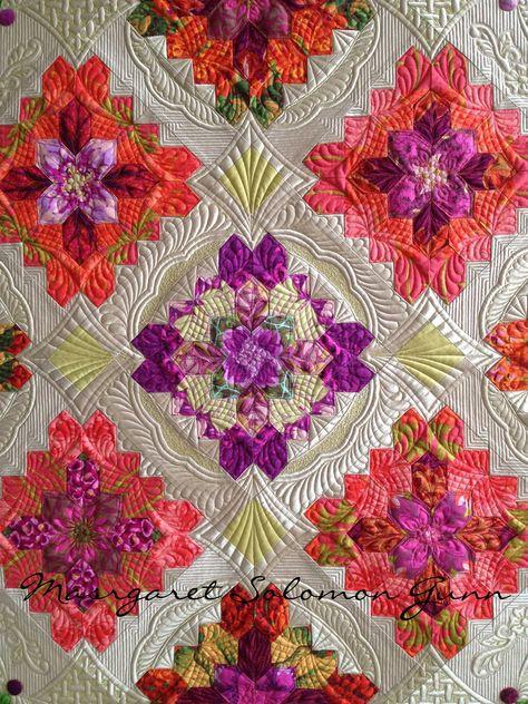 "My quilt ""Bouquet Royale"" (center of), finished (soon) 2015 www.quiltsoflove.blogspot.com Patchwork of the Crosses blocks  Margaret Solomon Gunn"