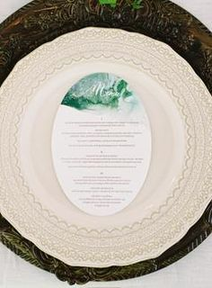 A Fall Watercolor Inspired Wedding at DeLille Cellars | #weddingmenu #weddingmenus #weddingreception #blueweddingideas #bluewedding #blueweddings #placesetting #tablesetting #tablescape #plates #platesetting