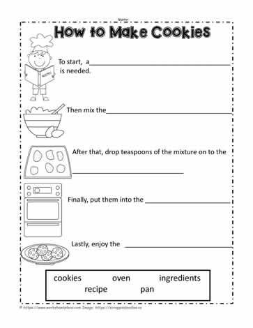 How To Make Cookies Sequencing Worksheets Writing Worksheets How To Make Cookies