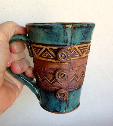 Hand Built Pottery Mug Buttons Triangles & Zig by KittingerClay