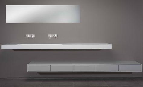 Solidsurface corian wit mat modern wastafel spiegel kraan