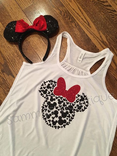 52005b137aae7 Minnie Mouse Head with 100 Mickey s Tank Top! Womens