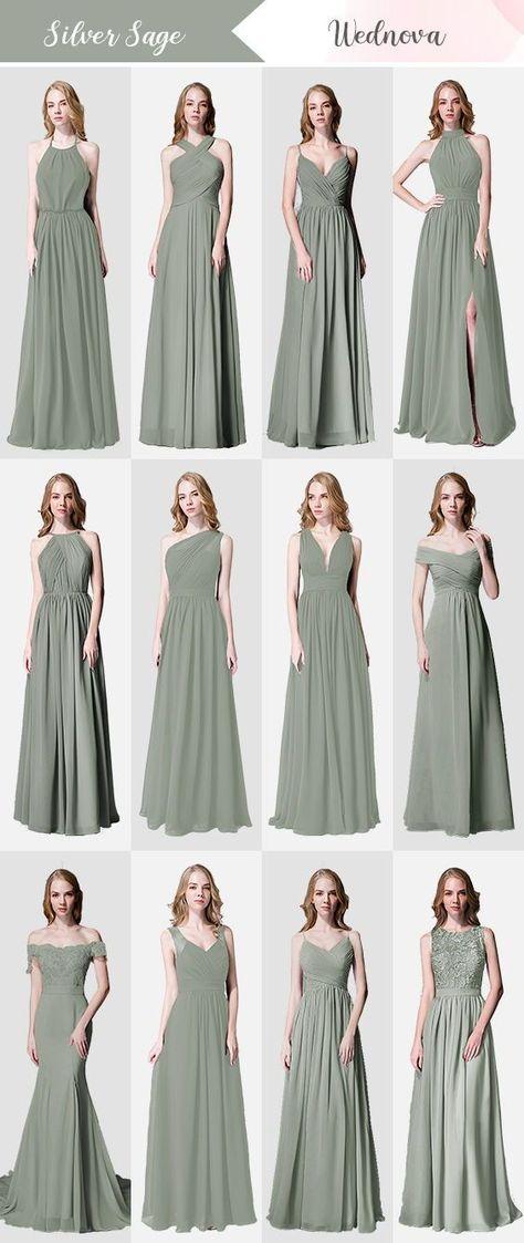 Silver sage long chiffon bridesmaid dresses free custom to fit #wedding #weddings #bridesmaid #bridesmaids #bridesmaiddress #bridesmaiddresses #longbridesmaiddresses #chiffonbridesmaiddresses