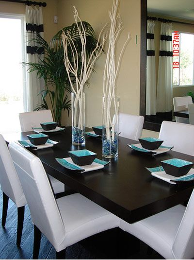 In The Dining Room, The Furniture Is All Neutral, Leaving The Option For A  Quick Change If Itu0027s Ever Desired. The Turquoise Here Comes In The Form U2026
