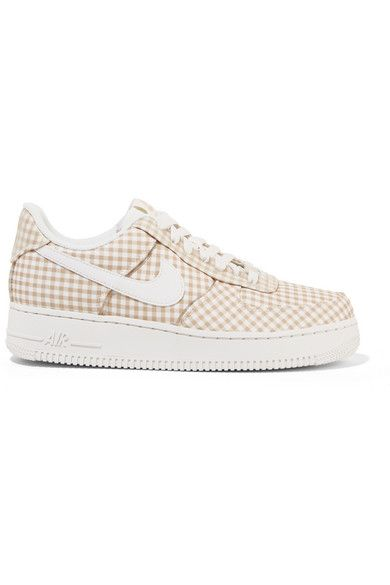 Air Force 1 leather and PVC trimmed gingham canvas sneakers