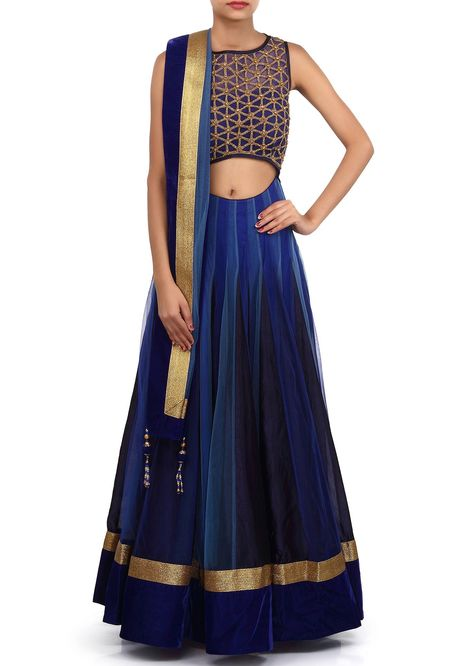 This lehenga choli is made in shaded blue net fabric. Blouse of this lehenga choli is weaved in kundan and zardosi weaving and improved in waist line cut work. Dupatta of this lehenga choli is in net with velvet fringe. Slight variety in shading is conceivable.