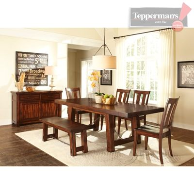 Tahoe 6pc Dining Set Conventional Tbl 4chr Bench Tepperman S