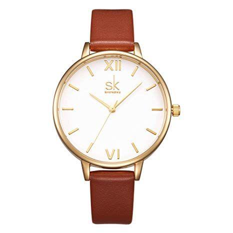 Amazon Com Sk Women Watches Leather Band Luxury Quartz Watches