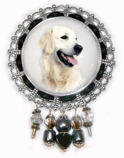 ORNATE GOLD PENDANT NECKLACE GREAT PYRENEES DOG