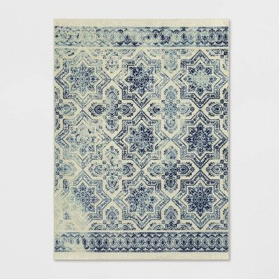 5 X7 Medallion Tufted Area Rug Blue