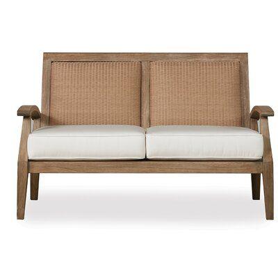Lloyd Flanders Wildwood Teak Loveseat With Cushions Cushion Color