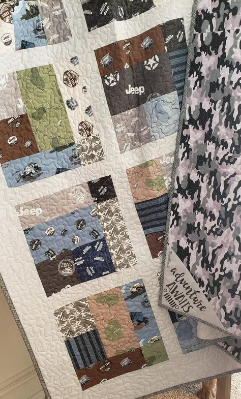 Jeep Twin Size Quilt Handmade Black And Gray Cam Camouflage Throw
