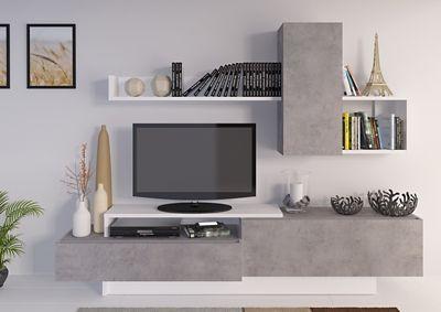 nouveau concept bdfcc 2f3c3 Meuble TV KASTLE Imitation béton et Blanc Brillant | W ...