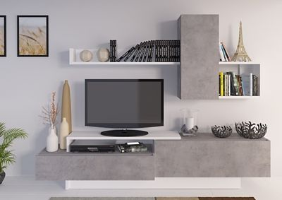 Meuble Tv Kastle Imitation Beton Et Blanc Brillant En 2019 W
