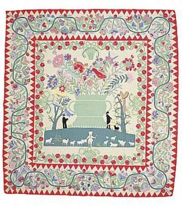 Phebe Warner Quilt, circa 1930s Hand-appliquéd, quilted, and embroidered cotton, satin, wool thread. Collection of the Mint Museum of Craft + Design, Charlotte, North Carolina. Gift of Fleur and Charles Bresler.