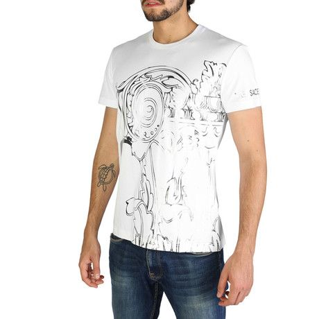 77h366 T Shirt White M With Images Versace Jeans Mens White Tshirt Men