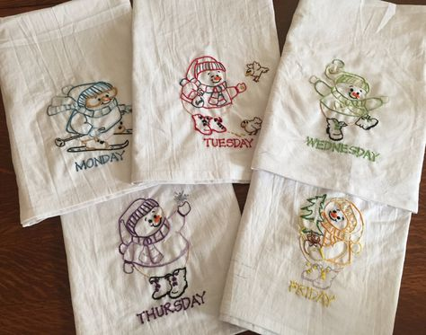 2 Transfer Pattern Kit Dancing Dishes Dish Towel Embroidery Set 2 Towels