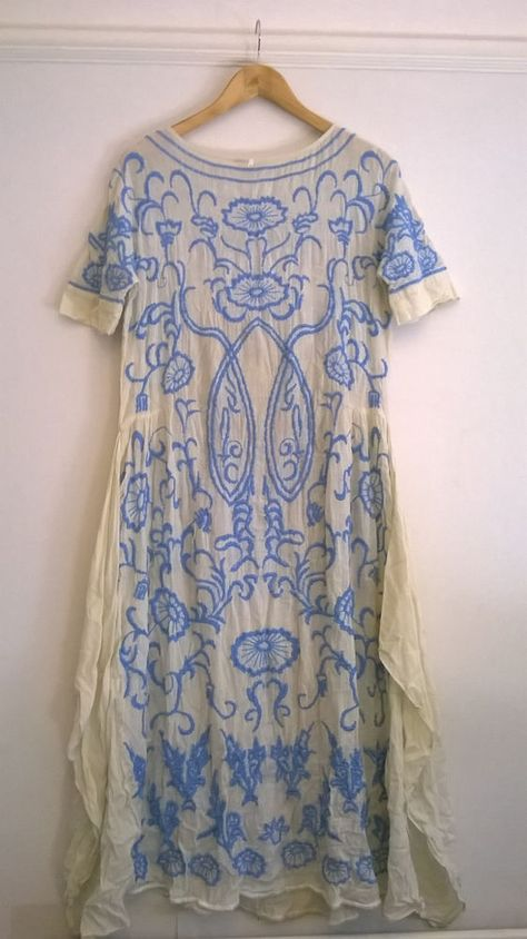RARE! Free People Mexican Vintage Dress Cream & Blue Embroidered UK8/10 US XS in Clothes, Shoes & Accessories, Women's Clothing, Dresses | eBay