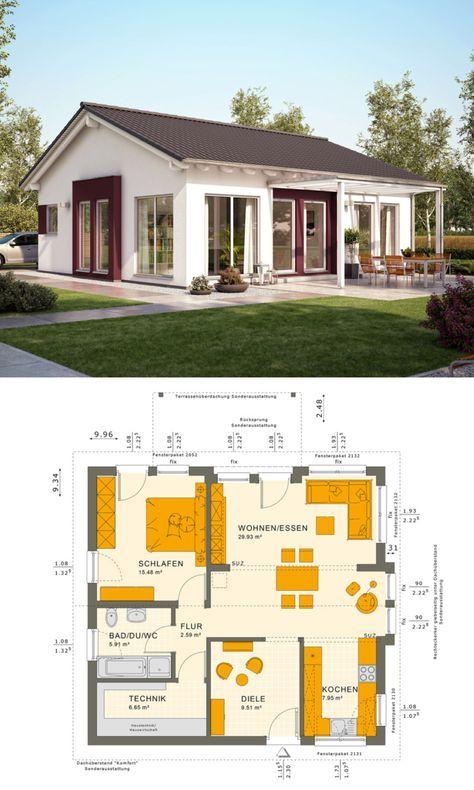 Bungalow Haus Mit Satteldach Architektur Einfamilienhaus Bauen