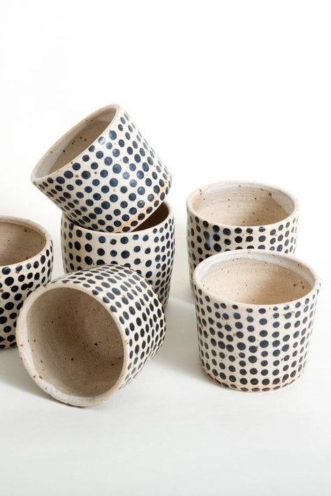 These polka dot ceramic tumblers make the perfect farmhouse style handmade coffee cup or gift.