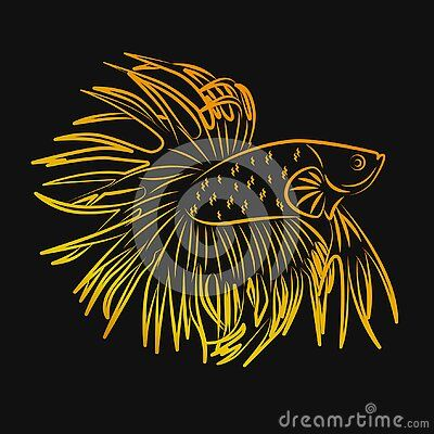 Betta Crowntail Fish Line Art Golden Minimalist Vector Logo Di 2020