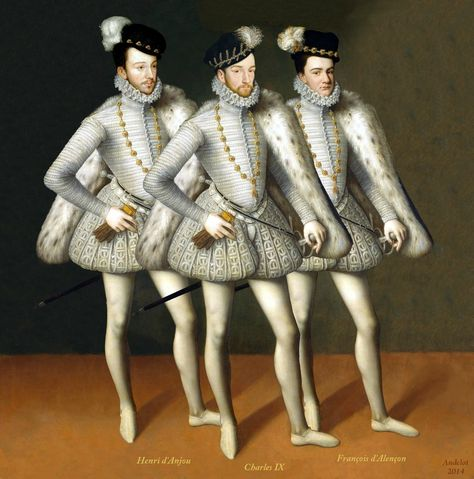 Three  Brothers of Valois Kings of France :Charles IX+Henri III.Anjou +Francois Alencon 1572