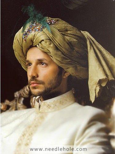 Royal Rajasthani Groom Turban, Silk Jamawar Fabric, Pre-Tied, Olive