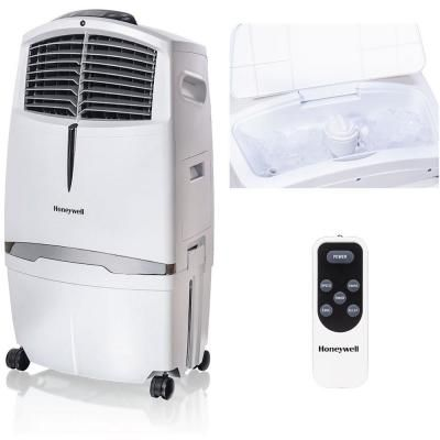 Honeywell 790 Cfm 3 Speed Indoor Portable Evaporative Air Cooler With Remote Control For 320 Sq Ft In White Cl30xcww The Home Depot In 2020 Evaporative Air Cooler Air Cooler Portable Air Conditioning