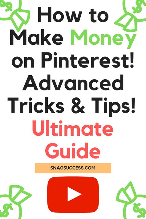 Learn how to make money online on pinterest using Advanced Pinterest Tips and tricks! Check out this Ultimate Pinterest Guide on How to make money on Pinterest!