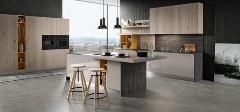 Cucina Moderna Lucida Grigia e Bianca con Rovere - Round - Arredo3