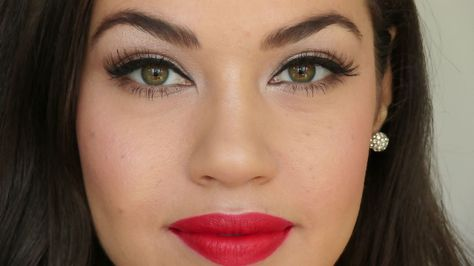 This one of my favourite looks to do for the holidays. If you don't love the red lip, I also do a pink lip option. I use all drugstore products for this video. http://www.youtube.com/watch?v=Hy1rUDnGJLQ
