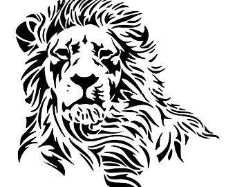 Lion 3 Leopard Jaguar Wild Cat Spots Wildlife Wild Animal Zoo Etsy In 2020 Lion Stencil Tribal Lion Vector Art