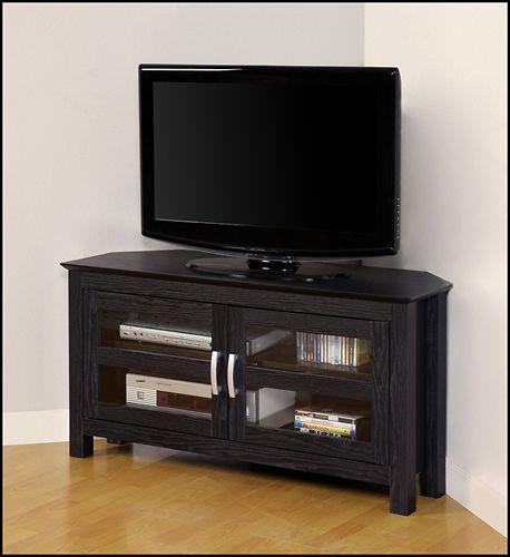 Walker Edison Corner Tv Cabinet For Most Tvs Up To 48 Black Bb44ccrbl Best Buy In 2021 Black Corner Tv Stand Modern Corner Tv Stand Tv Stand Designs Walker edison corner tv stand