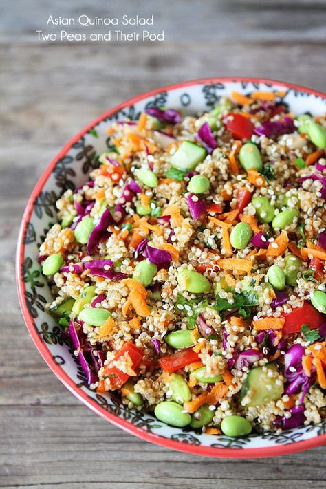 Asian Quinoa Salad Recipe on twopeasandtheirpo... A quick and healthy salad that is full of flavor!