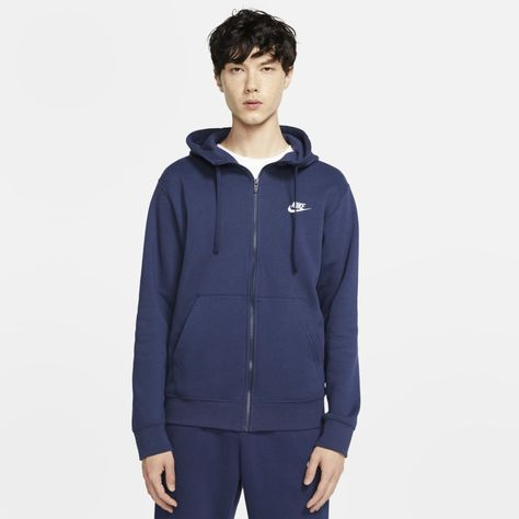 Nike Sportswear Club Fleece Men's Full-Zip Hoodie (Midnight Navy) - Men's fashion, style shapes and clothing tips