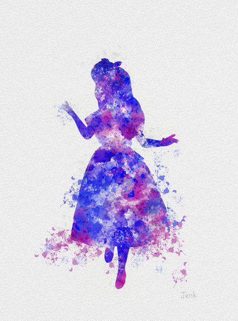 "Alice in Wonderland ART PRINT 10 x 8"" illustration, Disney, Mixed Media, Home Decor, Nursery, Kid"
