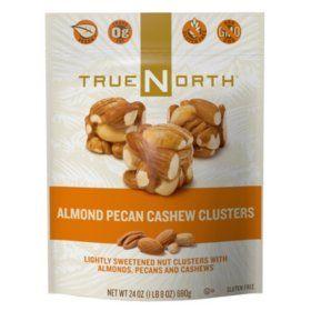 True North Almond Pecan Cashew Clusters 24 Oz Sam S Club Pecan Cashew Natural Snacks
