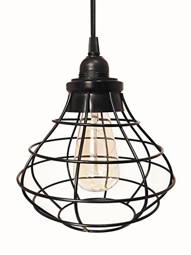 The Tesla V Round Cage Pendant Lamp With Plug In Cord