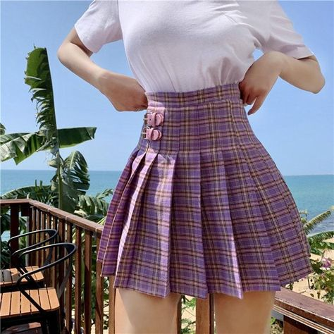 Cute Skirt Outfits, Cute Casual Outfits, Cute Skirts, Mini Skirts, Short Skirts, School Skirt Outfits, Stylish Outfits, Retro Skirts, Plaid Pleated Mini Skirt