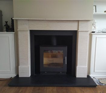 Westfire Uniq 23 Woodburner With Flat Door And Block Base Installed With Honed Black Granite Hearths And Flat Front Vi Granite Hearth Fireplace Doors Fireplace
