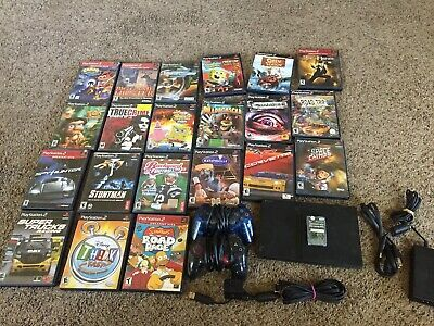 Huge Playstation 2 Ps2 Console Bundle 21 Games 2 Controllers